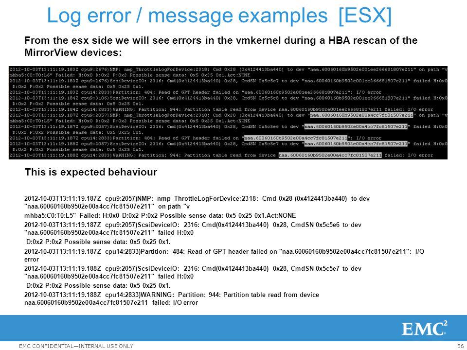 Log error / message examples [ESX]